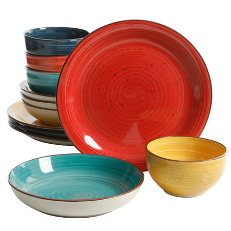 Gibson Color Speckle 12 Piece Mix and Match Double Bowl Dinnerware Set in 4 Assorted Colors