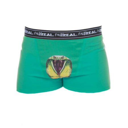 Faux Real Mens Funny Green King Cobra Boxer Briefs Snake Boxer - Fanny Boxers