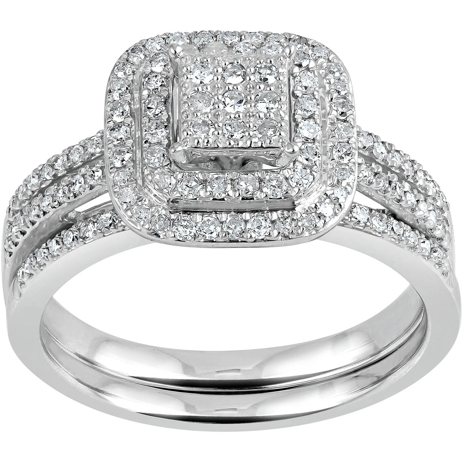 Forever Bride 1 2 Carat T.W. Diamond Cluster Square Frame Sterling Silver Bridal Set by TARA JEWELS LIMITED
