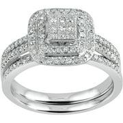 forever bride 12 carat tw diamond cluster square frame sterling silver bridal set - Wedding Ring Sets For Women