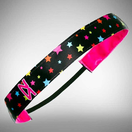 No Slip Running Headband One Size / Black-Neon Rainbow Stars (Star Headband)