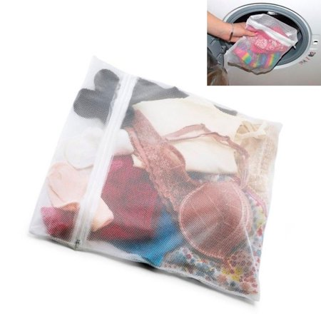 AllTopBargains 2 Delicate Laundry Washing Mesh Net Wash Bag Zippered Socks Bra Lingerie Clothes - Large Mesh Bags