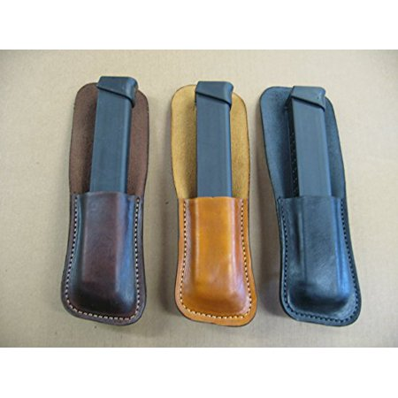 Azula Leather Clip On OWB Belt Extended Magazine Mag Pouch for Glock 9mm 33 Round CCW - Dark Brown ()