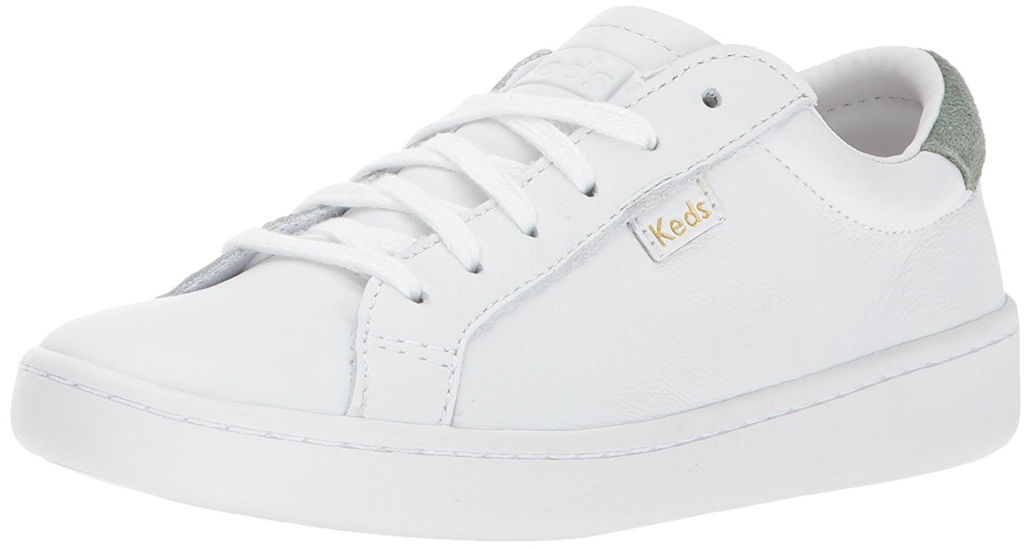 Keds Women's Ace Leather Fashion Sneaker, White Gum, 5.5 M US by Keds
