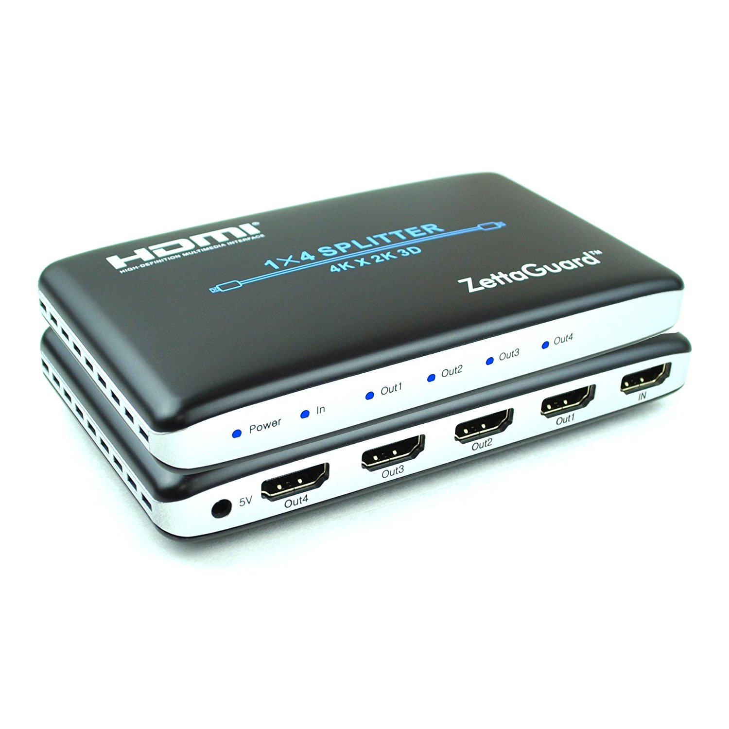 Zettaguard 1 x 4 HDMI Splitter 1 In 4 Out Digital 1X4 Switch with Full HD 4K x 2K, 3840 × 2160, 3D Support (ZW140)