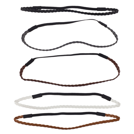 Lux Accessories Assorted Pu Leather Braided Stretch Headband Headwrap Set (Schampa Stretch Headwraps)