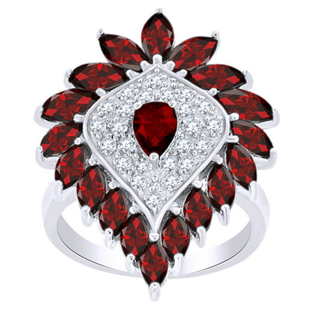 Garnet Cluster Ring (4.39 Ct Pear Shape Simulated Garnet & White Zirconia Cluster Ring in 14k White Gold Over Sterling Silver Ring Size - 4 )