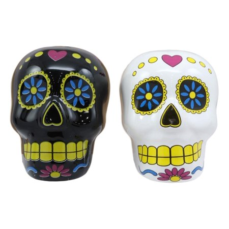 - Ebros Los Sabrositos Day Of The Dead Black And White Floral Sugar Skulls Salt And Pepper Shakers Set Ceramic Spice Holder Earthenware Kitchen Decor As Dias De Los Muertos Calacas Prop Decorative