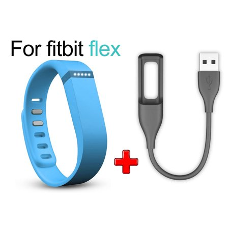EEEKit Large Replacement Wrist Band + USB Charging Cable Charger for Fitbit Flex Smart Watch with Clasp Replacement Accessories Charging Solution Kit (Fitbit Flex Vs Charger)