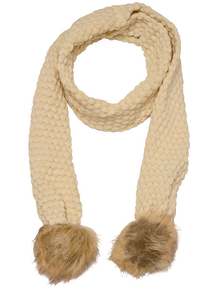 Marilyn Monroe Girls Ivory Tan Textured Faux Fur Detail Winter Scarf
