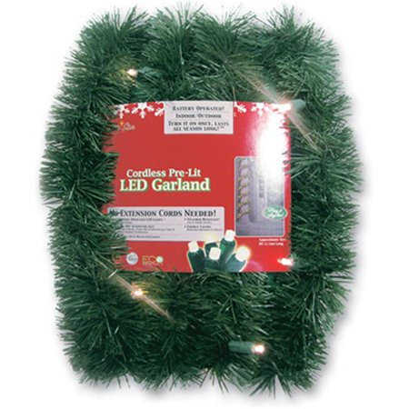 Northlight 18 Ft Pre Lit Battery Operated Sparkling Artificial Christmas Garland Warm White Led Lights