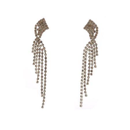 Wedding Earrings Silver Crystal Long Multi Strand Dangle Earrings