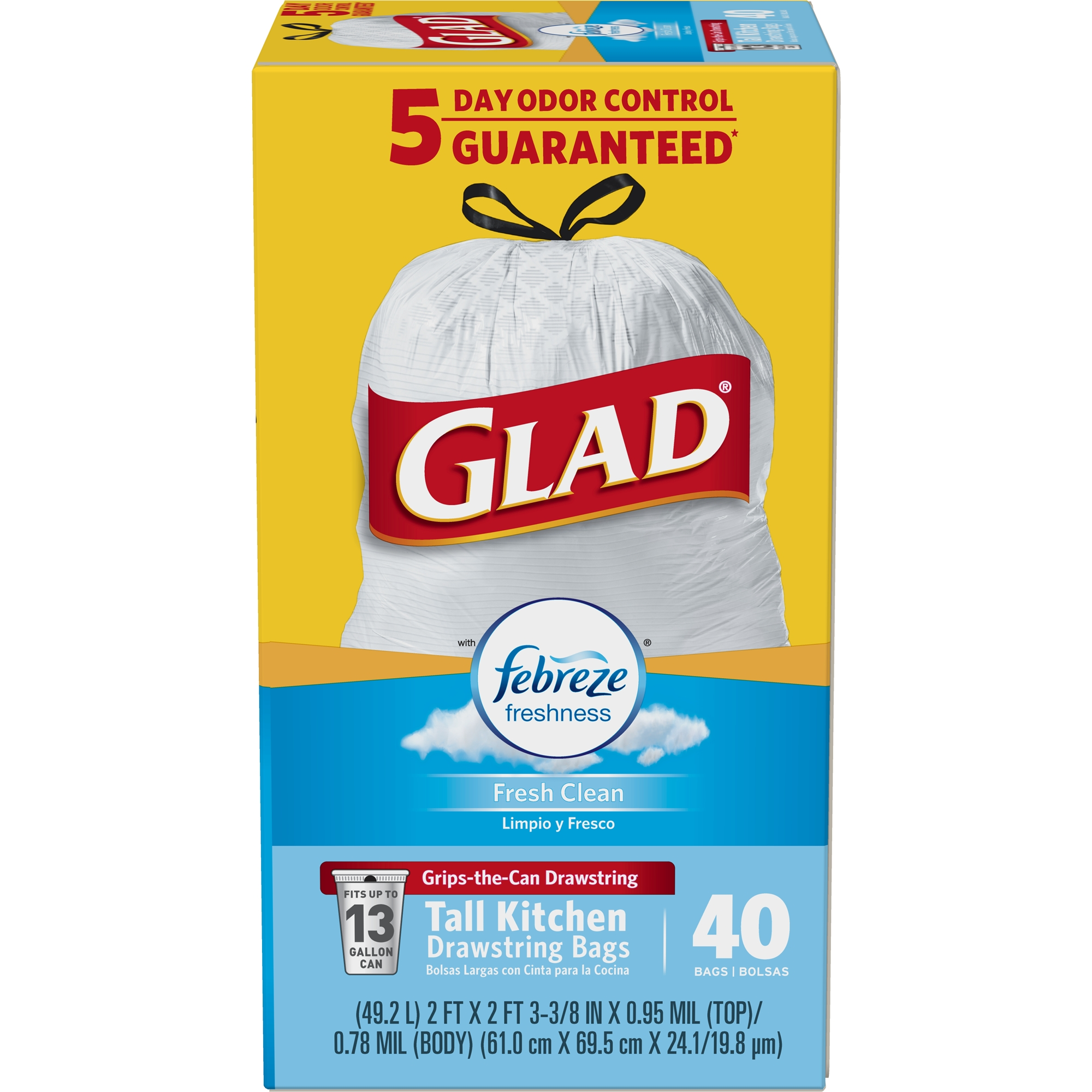 Glad OdorShield Tall Kitchen Drawstring Trash Bags - Febreze Fresh Clean - 13 gal - 40 ct