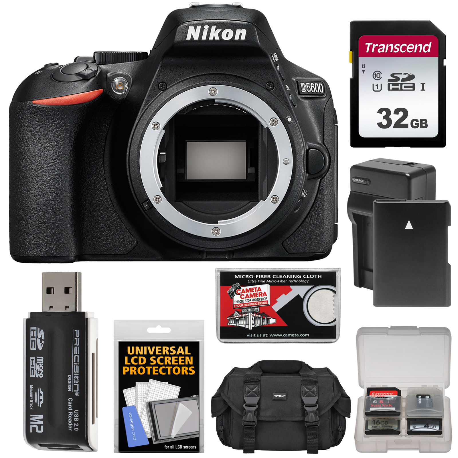 Nikon D5600 Digital SLR Camera Body - Refurbished with 32GB Card + Battery  + Charger + Case + Reader + Kit