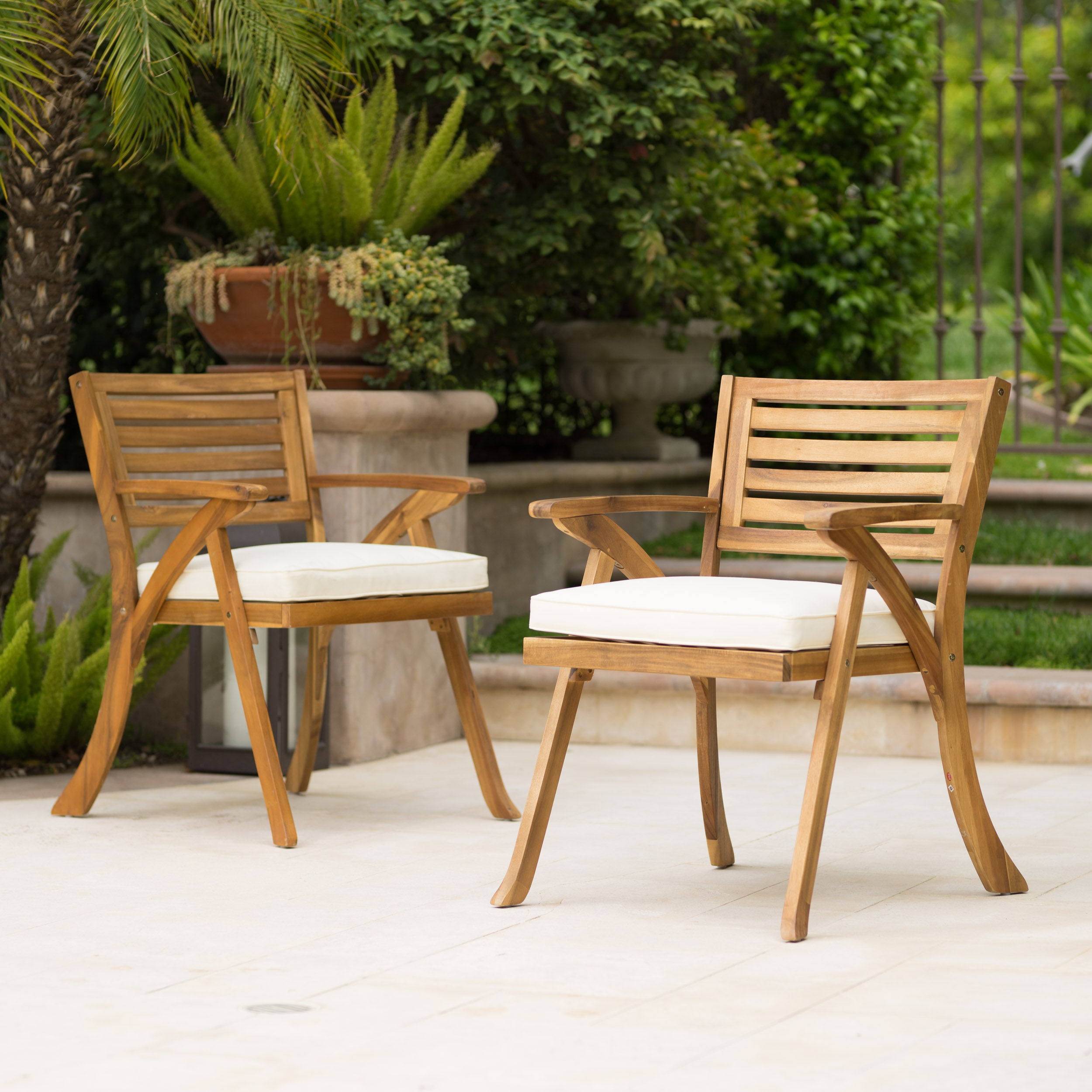 Outdoor Teak Finish Acacia Wood Armchair (Set of 2) by Noble House