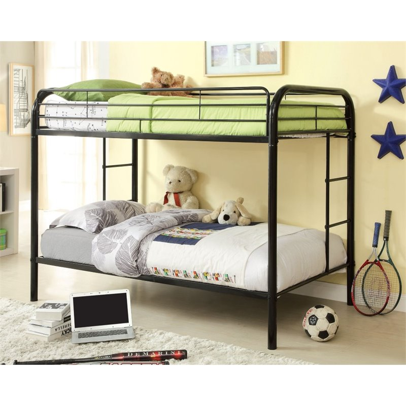 Furniture of America Capelli Twin over Twin Metal Bunk Bed in Black