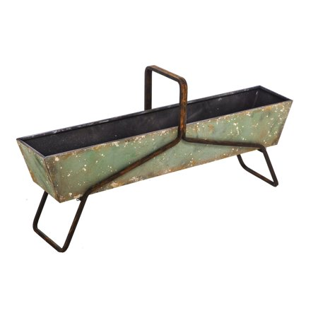 Evergreen Large Long Green Planter with Paint Dab Finish