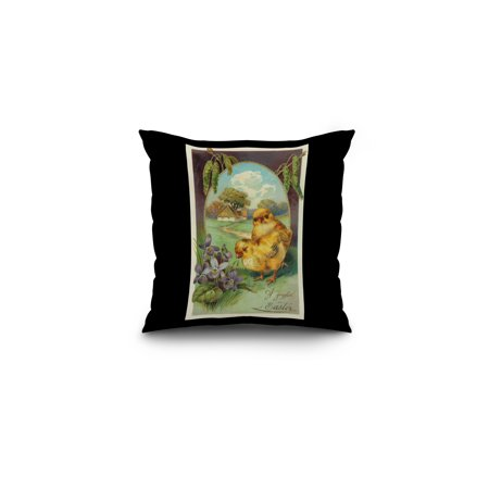 A Joyful Easter Scene with Chicks and Violets (16x16 Spun Polyester Pillow, Black