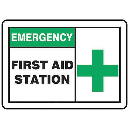 ACCUFORM SIGNS MFSD924VP First Aid Sign,10 x 14In,GRN and BK/WHT