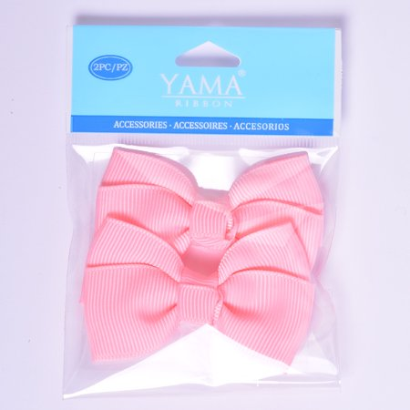 Yama Ribbon Pink Grosgrain Bows, 2 Count - Large Ribbon Bows