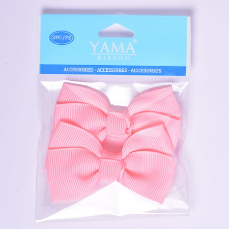 Yama Ribbon Pink Grosgrain Bows, 2 Count