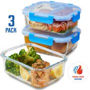 ShopoKus Glass Meal Prep Containers - 3-pack (35oz) BPA-free Airtight Food Storage Containers with 100% Leak Proof Locking Lids, Freezer to Oven Safe Great on-the-go Portion Control Lunch Containers