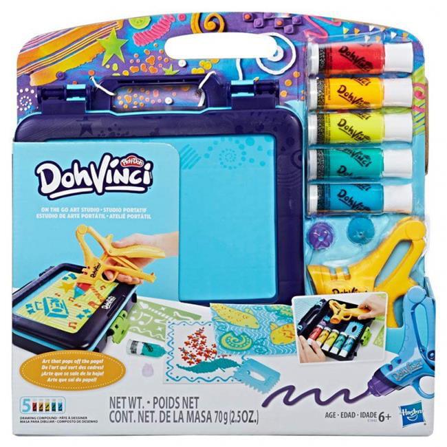Hasbro HSBE1942 Play-Doh Dohvinci On the Go Art Studio, 4 Count