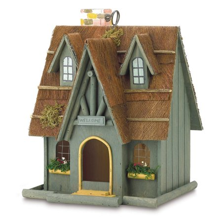 Gifts & Decor Thatch Roof Wood Cottage Chimney Bird House, Fashioned in the form of a thatch roof cottage By Gifts Decor,USA