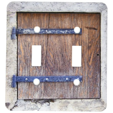 3dRose Wooden medieval style trap door photo print - offbeat humor - unusual bizarre humorous fun funny, Double Toggle Switch