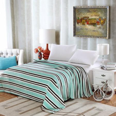 Lauren Striped Micro Fleece Jacquard Blanket, Bed Throw Blanket  (Twin, Aqua)