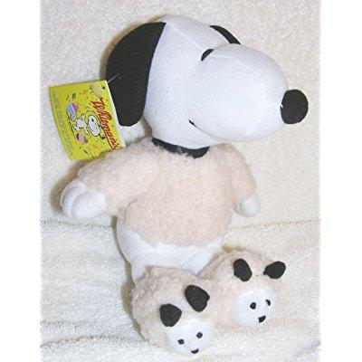 peanuts 6 plush snoopy in lamb shirt and slippers