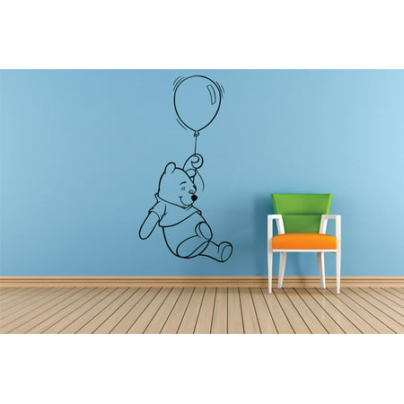 Winnie The Pooh Balloon Cartoon Characters Silhouette Baby Nursery Room Boy Girl Custom Wall Decal Vinyl Sticker 12 Inches X 18 Inches (Winnie The Pooh Halloween Quote)
