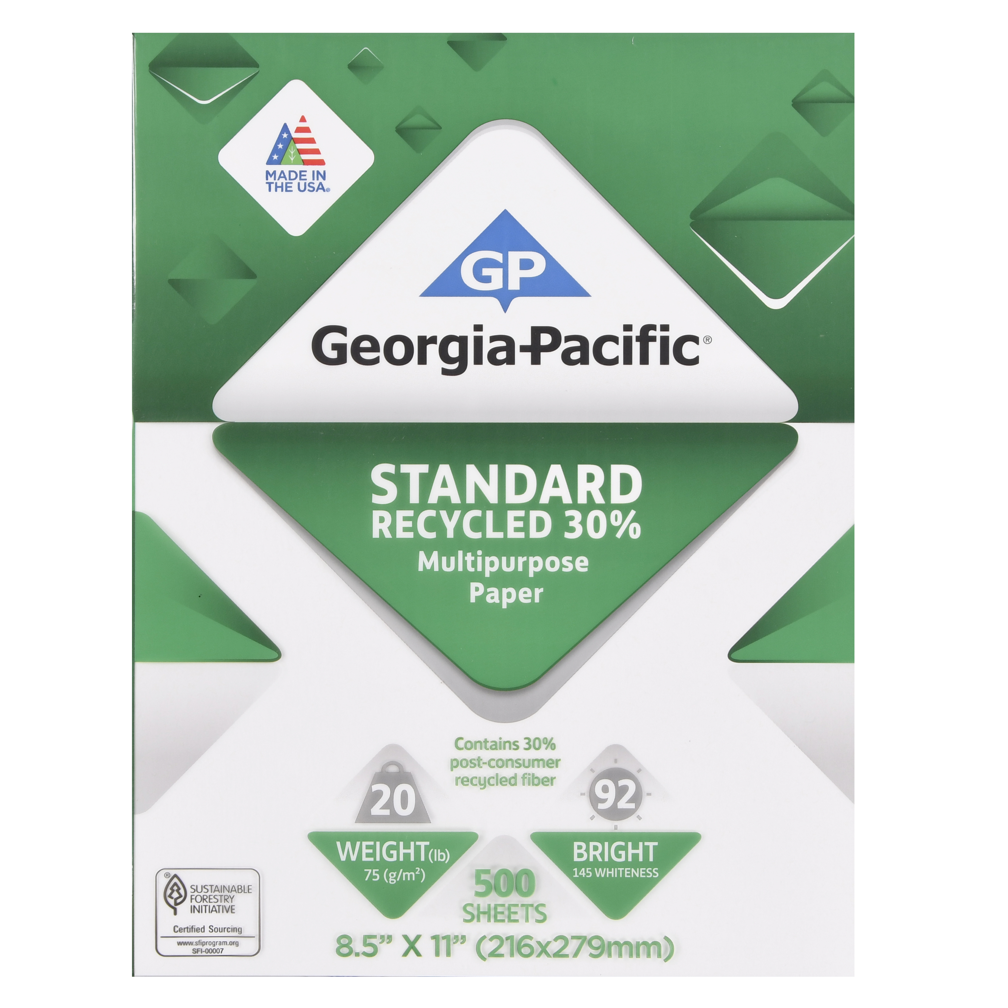 "Georgia-Pacific Standard Recycled 30 Percent Multipurpose Paper, 8.5"" x 11"", 20 lb, 92 Brightness, 500 Sheets"