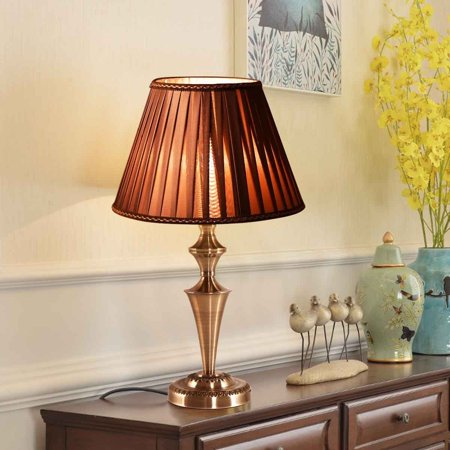 "Costway 13"" Antique Brass Bedside Table Lamp Champagne Light w/ LED Bulb - image 6 of 10"