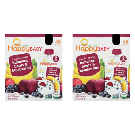 (2 Pack) Happy Baby Food - Organic - Simple Combos - Bananas Beets and Blueberries - 6 Plus Months - Stage 2 - 3.5 oz - 4