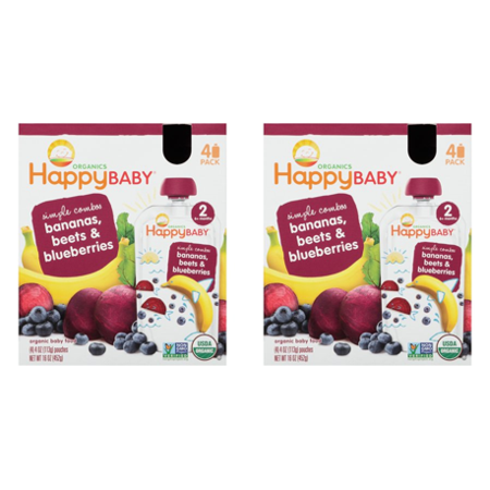 (2 Pack) Happy Baby Food - Organic - Simple Combos - Bananas Beets and Blueberries - 6 Plus Months - Stage 2 - 3.5 oz - 4 Pack