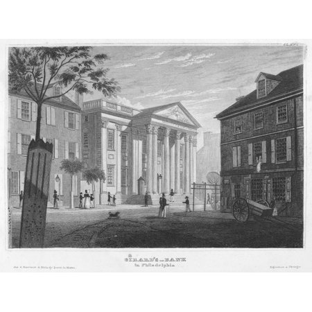 Philadelphia Bank 1827 Ngirards Bank In Philadelphia The Former First Bank Of The United States Bought By Stephen Girard In 1811 Etching German 1827 Rolled Canvas Art     18 X 24