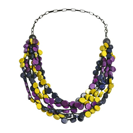 Tropical Cascades Purple Yellow Coco Palm Wood Strand Necklace
