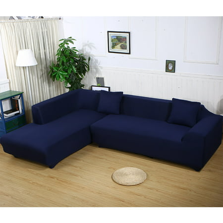 - Sofa Covers for L Shape, 2pcs Polyester Fabric Stretch Slipcovers + 2pcs Pillow Covers for Sectional sofa L-shape Couch - Solid Color Blue