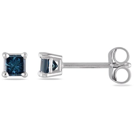 1 3 Carat T W Princess Cut Blue Diamond Solitaire 14kt White Gold Stud Earrings