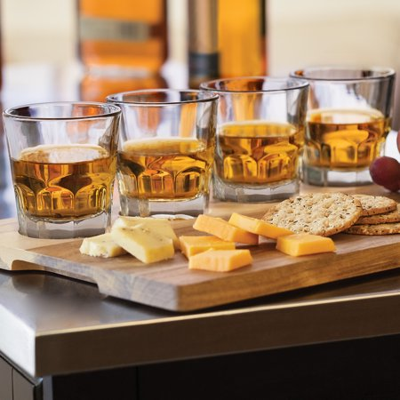 Libbey Whiskey - Libbey Craft Spirits Whiskey Flight Glass Set with Wood Carrier, 4 Glasses