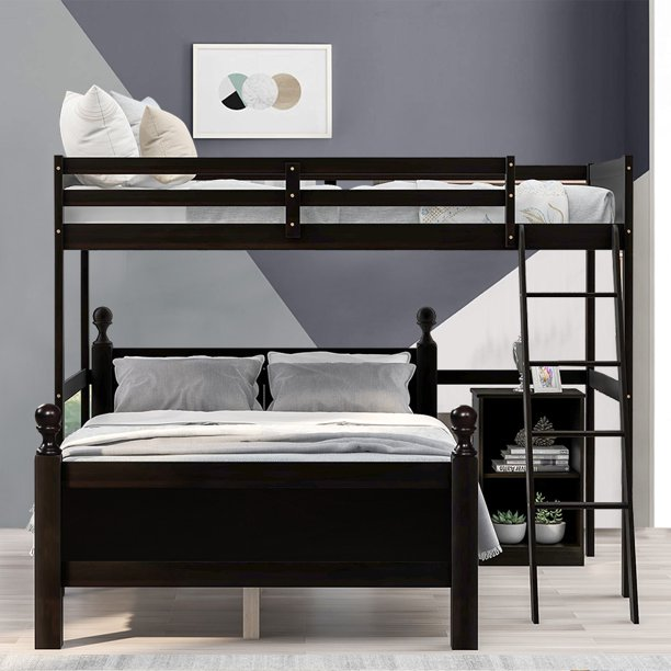 Twin Over Full Bunk Bed Loft Bed With Safety Guard Rails And Ladders Home Use Separable