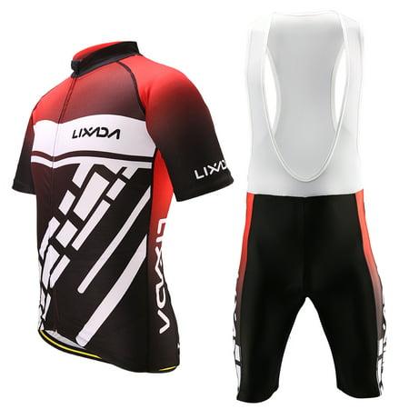 Lixada Men's Cycling Clothes Set Quick Dry Short Sleeve Bicycle Jersey Shirt Tops 3D Cushion Padded Riding Bib Shorts Tights (Best Bib Shorts For Long Distance Cycling)