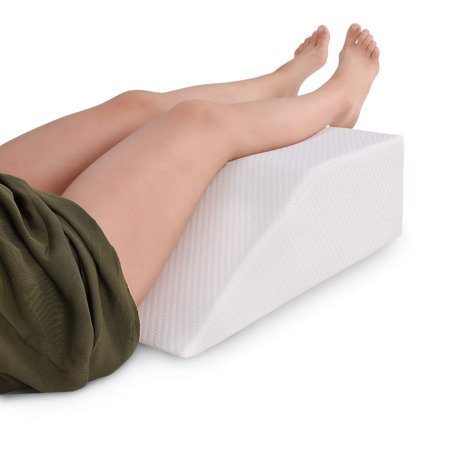 6 Inch Wedge - Abco Tech Elevating Leg Rest Memory Foam Pillow, Reduce Back Pain, Hip Pain and Knee Pain, Ideal for Sleeping, Reading, Rest or Elevation, Breathable and Washable Cover (8 Inch Wedge, White)