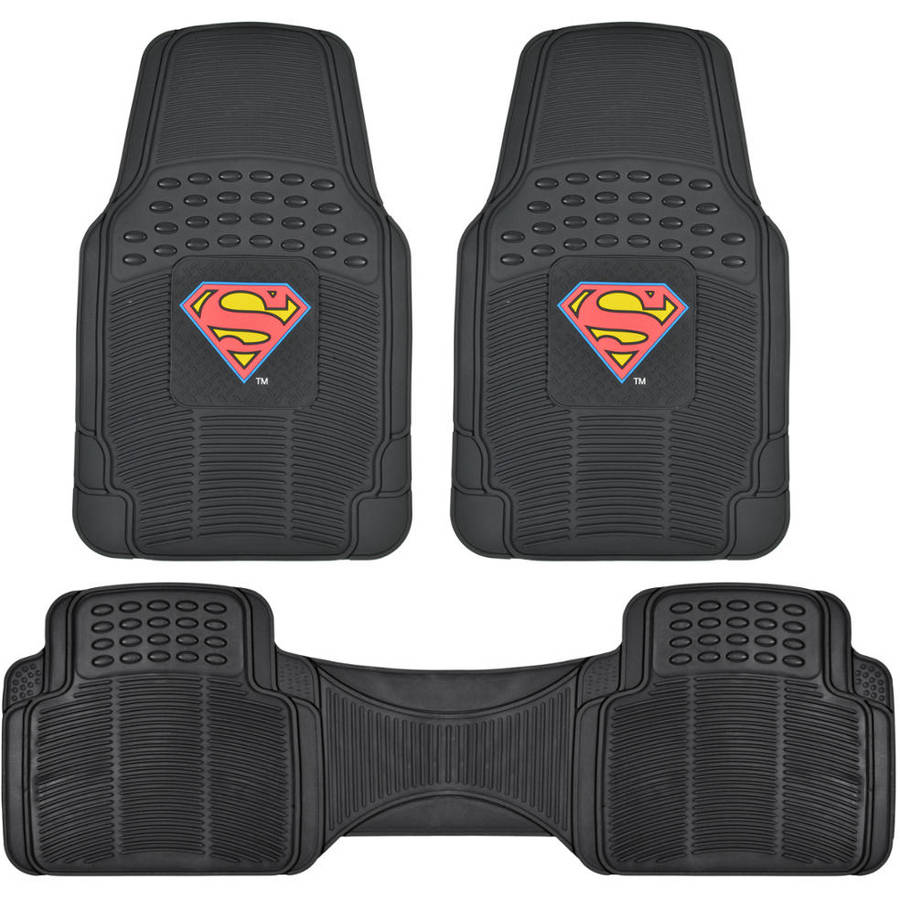 BDK Original Superman Car Floor Mats, Rubber 3 Pieces Heavy Duty Trimmable Liners