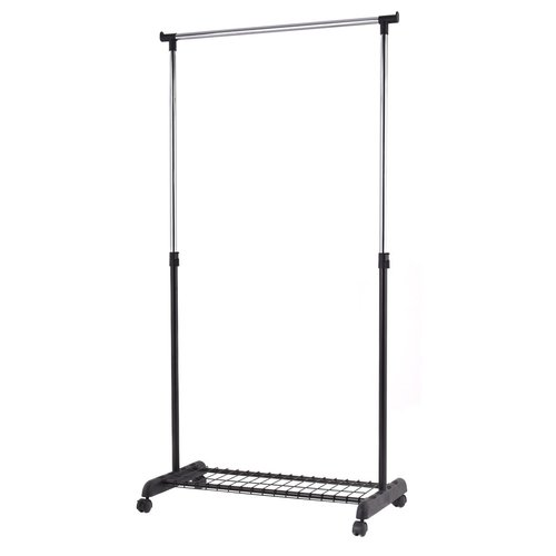 Adjustable Rolling Garment Rack Heavy Duty Clothes Hanger W/ Shoe Rack  Portable