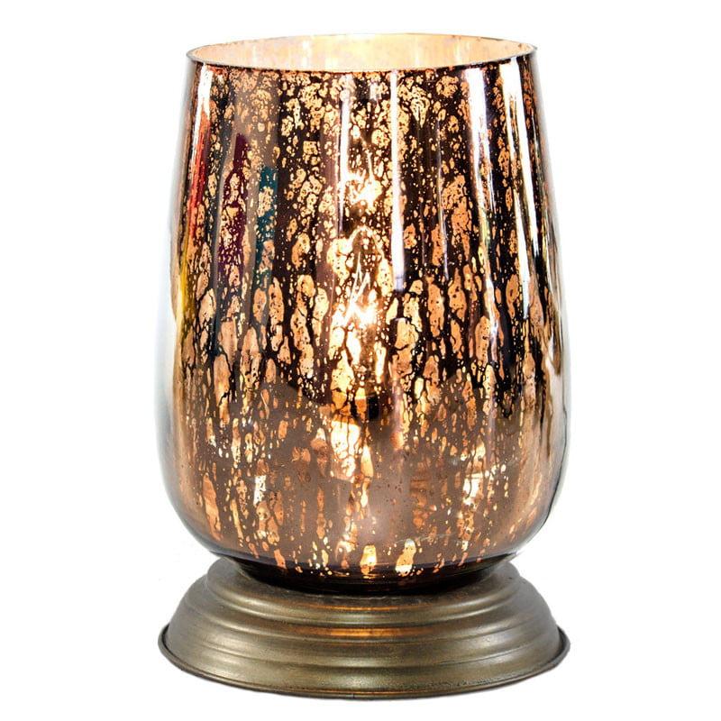Medium Bordeaux Glass Memory Lamp Taupe Gold Glass Medium by OneWorld Memorials