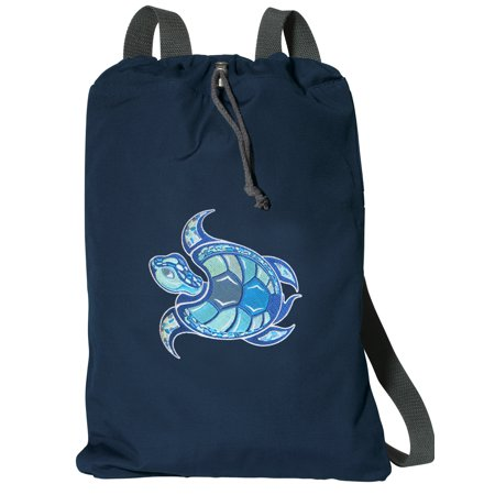Cotton Canvas Sea Turtle Backpack Natural Fiber Sea Turtle Cinch Bag Lined and with Wide Straps - Cinch Backpack