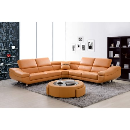 Best Quality Furniture 3pc Sectional Bonded Leather Orange or