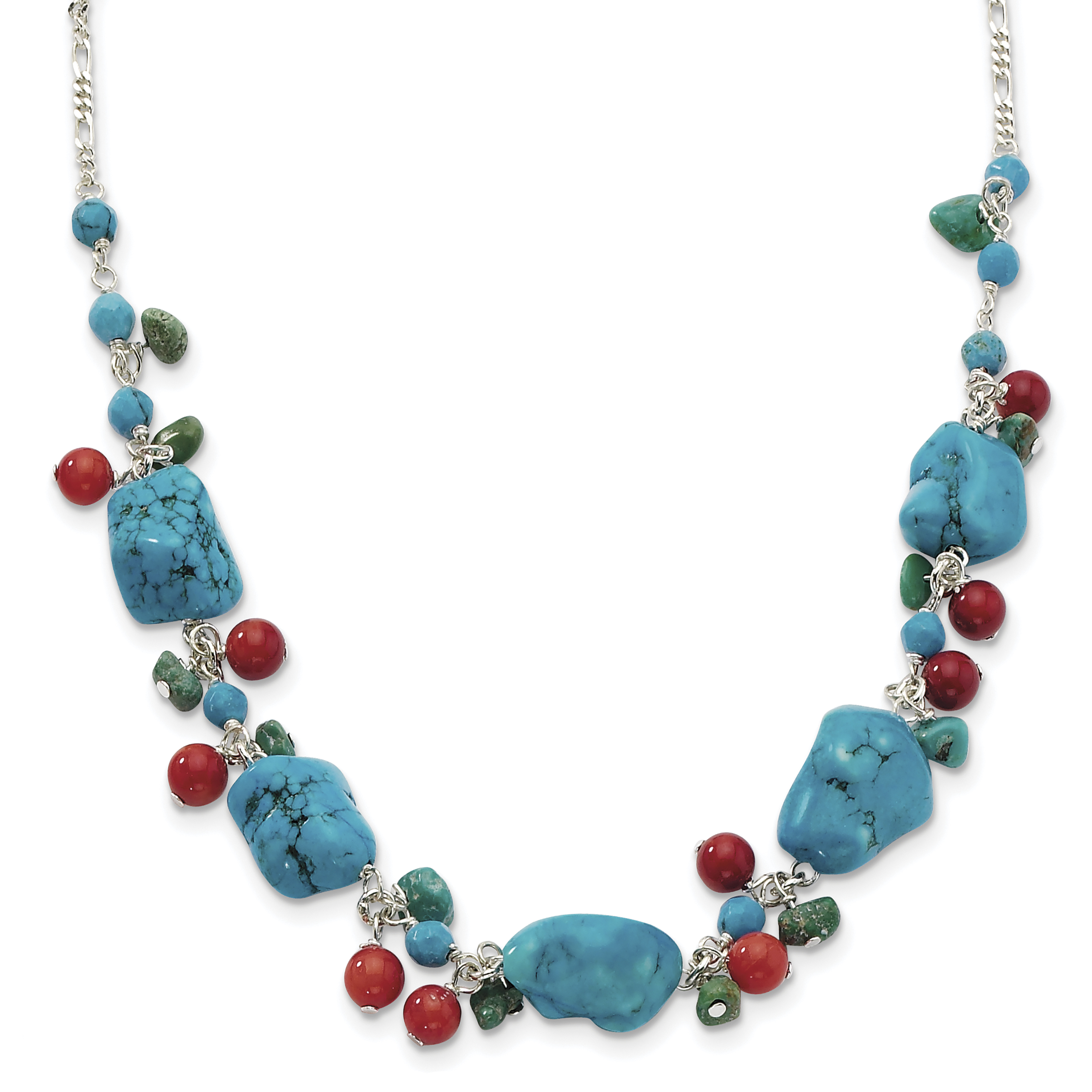 Roy Rose Jewelry Sterling Silver Dyed Howlite, Turquoise, Red Coral Necklace ~ Length 16'' inches by